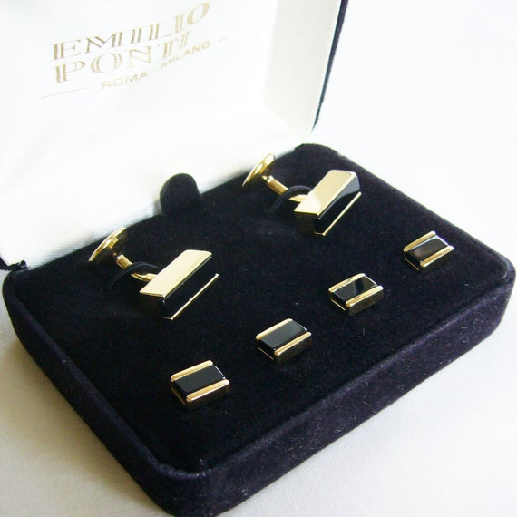 Vintage tuxedo cufflinks and shirt studs set gold by sewmanity for Stud sets tuxedo shirts