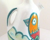 De Simone Bird Jug Pitcher Carafe Vintage Pottery Signed and Numbered