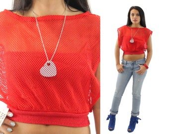 Vintage 80s Netted Shirt NOS Short Sleeve Shirt Cropped Top Bandeau Top Red Blouse Womens Fashion 1980s Biker ShirtSmall S Medium M