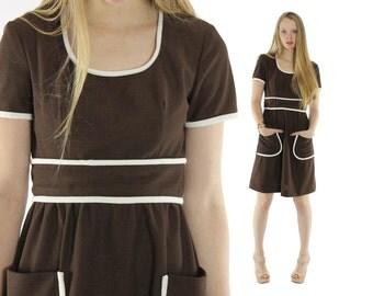 Vintage 60s Mod Dress Short Sleeve Dress Mini Dress Womens Fall Fashion 1960s Medium M Brown Dress Scooter Dress Domino