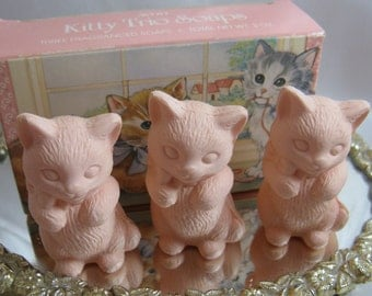 Vintage Avon Kitty Trio Soaps, Three Pink Kitty Soaps, Unused in Box, 1987
