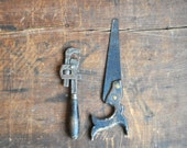 FREE SHIPPING - Antique Mini Tool Set - Wrench and Saw E2060