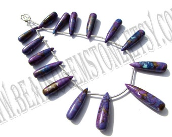 Purple Copper Turquoise Smooth Drops (Quality AAA) / 5x18 to 6x21 mm / 13 to 15 Grms / 18 cm / TU-014