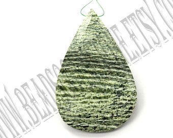 Green Zebra Jasper Faceted Focal Pear Pendant (Quality A) / 33x54 mm / 14 to 16 Grms / GREE-024