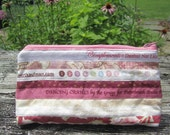 """Quilted Cosmetic Bag, """"Dancing Cranes"""", Pink and Tan Selvedge Travel Pouch, Zippered Make-up bag, Quiltsy Handmade"""