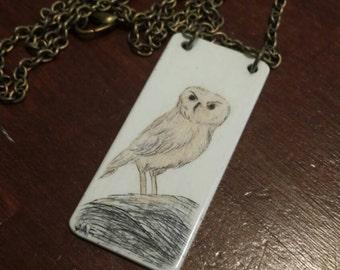 Scrimshaw Necklace Lovely Owl on a Boulder OOAK