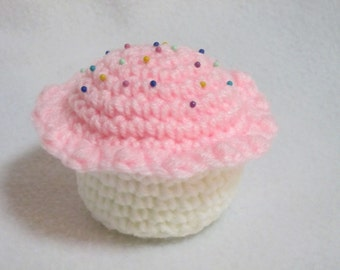 Crochet Strawberry Cupcake Pincushion, Gift for Seamstress, White Cupcake with Strawberry Icing with Colorful Pins by Charlene