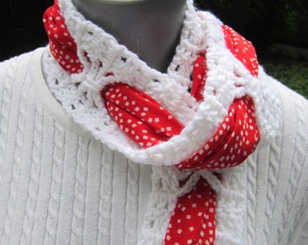 Valentine's Day Scarf in a Scarf, Red and White Fashion Accessory, White Lace Scarf with Red Scarf Intwined