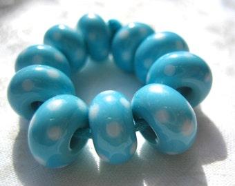 Turquoise and White Polka Dot Lampwork Glass Beads, FHF, SRA, UK Seller