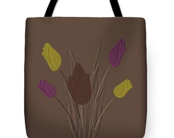 Embossed Tulips Color Tote Bag