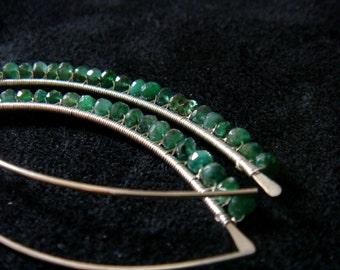 "sterling silver emerald earrings -ZAMBIAN EMERALD LEAF - genuine gemstone emerald, everyday earrings green, 2"", may birthstone, rustic feel"