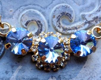 Sapphire Swarovski Crystal Necklace, Bridesmaid Necklace, Birthstone Necklace, Blue Swarovski Crystal Necklace, Three Stone Necklace