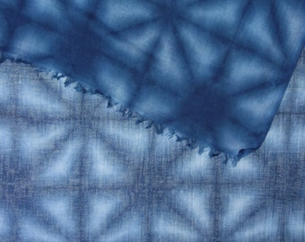 Large navy cotton and linen gauze shibori scarf