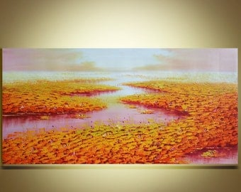 """Oil painting lotus painting Original Painting Modern Palette Knife the lotus Pond  fine art on Canvas Ready to Hang by Qujun 24"""" by 48"""""""