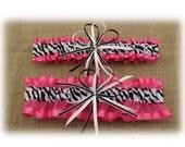 Hot Pink Wedding Garter Set with Zebra Stripe Center