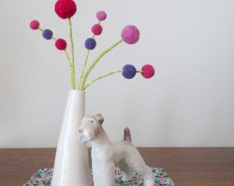 Purple and Pink flower bouquet.  Wool felt pom poms. Pompom flowers. Round Ball Blooms.  Grape Craspedia.  Vase Filler.  Small Arrangement.