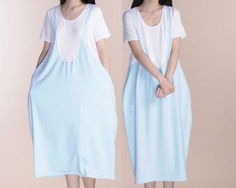 Blue and white patchwork cotton linen lantern dress bud dress dress