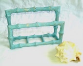 Beachy aqua faux bamboo upcycled distressed metal napkin holder mail holder storage