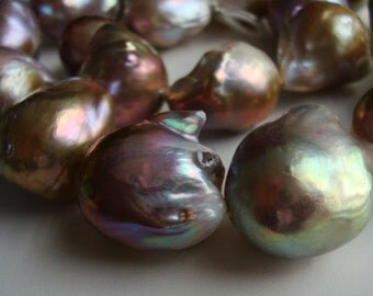 Gigantic Fresh Water Pearl, Mauve Pink Puprle, Bronze Gold Metallic Nucleated Bead Baroque Round Pearls - full strand -m24-1