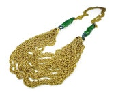 Miriam Haskell Necklace, Gold Chains, Multi Chain, Art Glass, Green Glass, Vintage Jewelry