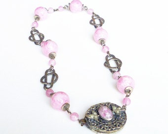 Pink Art Deco Necklace Czech Marbled Glass Pearl Silver Filigree Antique Jewelry