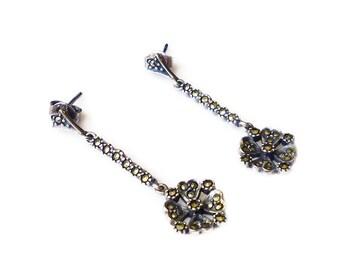 Sterling Earrings, Marcasite Earrings, Silver 925, Dangle Drop, Silver Earrings, Vintage Earrings, Vintage Jewelry