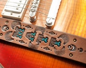 """Custom Leather Guitar Strap - 2"""" wide & adjustable - Pick your colors and text - Great for Acoustic or Electric Guitar and Bass - Masculine"""