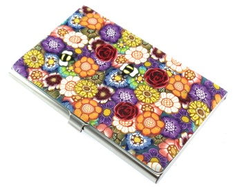 Colorful Polymer Clay Business Card  Case, Flowers and Bees