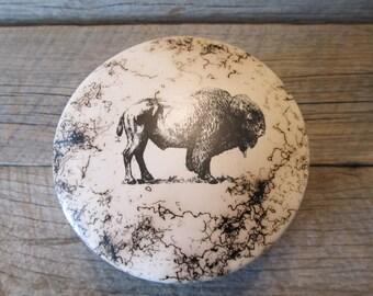 Buffalo Hair Pottery Trinket Box  - Made in Wyoming