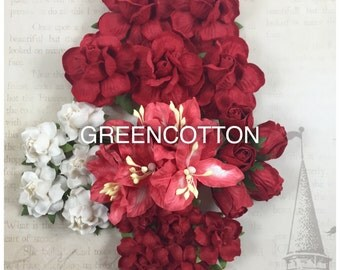 25 mixed Christmas Tone Red White mulberry paper flowers code  Red/Wh-TRL