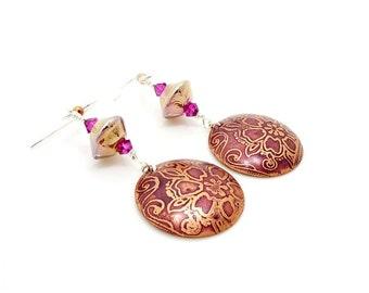 Pink Copper Earrings, Boho Earrings, Lampwork Earrings, Moon Earrings, Dangle Earrings, Mixed Metal Earrings, Celestial