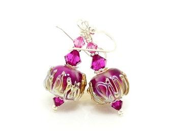 Hot Pink Earrings, Lampwork Earrings, Glass Bead Earrings, Beadwork Earrings, Unique Earrings, Glass Beads Jewelry, Glass Art Earrings