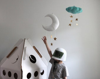 Moon Mobile - Linen and Faux Metallic Vinyl, Nursery Decor // Free US Shipping