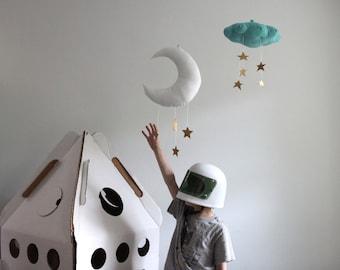 Moon Mobile - Linen and Faux Metallic Vinyl, Nursery Decor // Free US Shipping