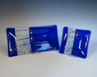 Fused Glass Dish Set- Royal Blue with Red and Yellow - Home Decor - Handmade Gift Set