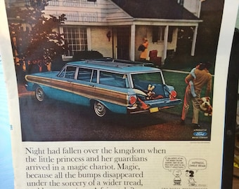 Circa 1963 ford stationwagon 13 1/2 x 10 1/2 print ad.