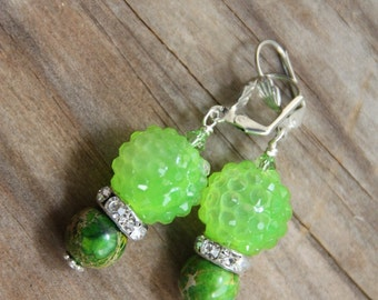 Dangle earrings, Neon Green, Jasper stones # 31 Candy Collection