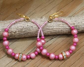 Dangle Hoops, Pink Czech beads