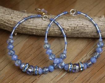Dangle Hoop earrings Baby Blue with Rhinestones  medium