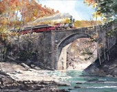 Westbound 4-4-0 - Open edition print of an original watercolor (fits 11x14 frame)