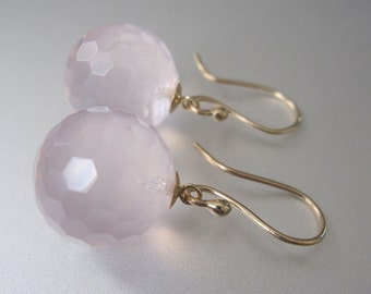 Rose Quartz Orbs Solid 14k Gold Earrings