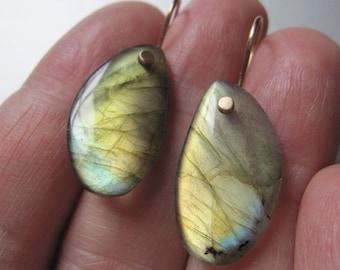 Golden Green Labradorite Drops Solid 14k Gold Earrings