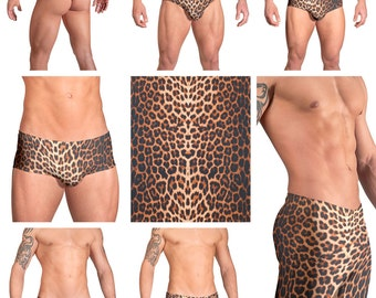 Leopard Print Swimsuits for Men by Vuthy Sim.  Choose Thong, Bikini, Brief, Squarecut, Boxer, or Board Shorts - 131