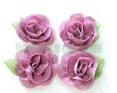 """DUSTY ROSE 2.25"""" inch Shabby Silk Chiffon Rose with Leaf Fabric Flower, Bridal Flower, DIY Headband Hair Supplies Accessories"""