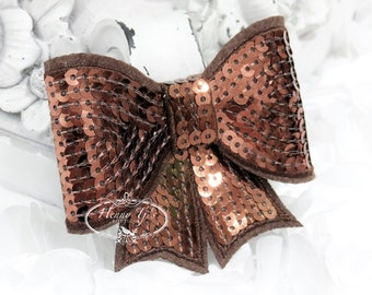 "Set of 2 - XL Sequin Bows - 3"" Metallic Chocolate BROWN Sequin Bow Tie Appliques. Hair Accessories. DIY Supplies. Large Sparkling Bow"