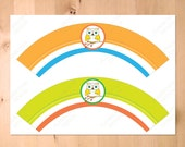 Colorful Owl Printable Party Happy Birthday  - Cupcake Wrappers  - Orange Green Blue Instant Download  Printable PDF