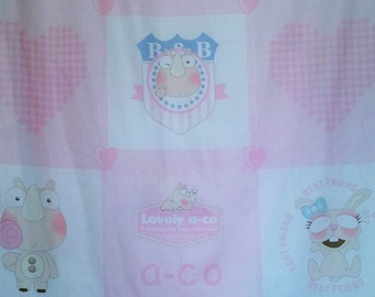Pink decorator baby quilt square fabric panels