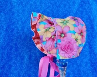 Infant Baby Bonnet Flowers Reversible Bonnet