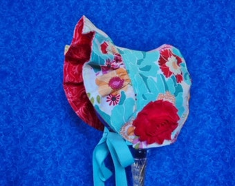 Baby Bonnet Aqua with Red Baby Summer Hat Baby Girl Bonnet