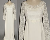 Vintage 1960s Wedding Dress, Ivory Lace 60s Formal Bridal Dress, Small